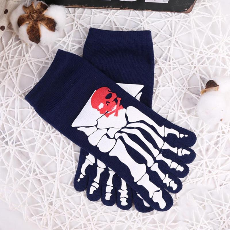 Men Funny Punk Gym Sports Skull Skeleton Cotton Five Finger Ankle Toe Socks Cosplay Socks - The Black Ravens
