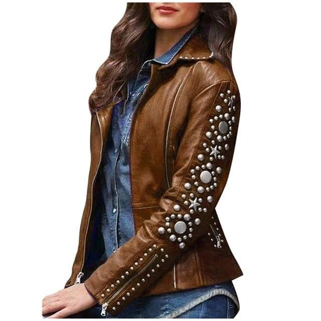 Rock Jacket Women Punk Hip Hop Ladies Lapel Zip Fashion Jackets Long Sleeve Metal Studs Short Outerwear Black Plus Size 5XL#G7 - The Black Ravens
