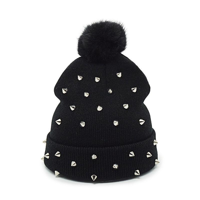 Stud Punk Ball cap pom poms warm winter hat for women girl hat knitted beanies cap thick female cap - The Black Ravens