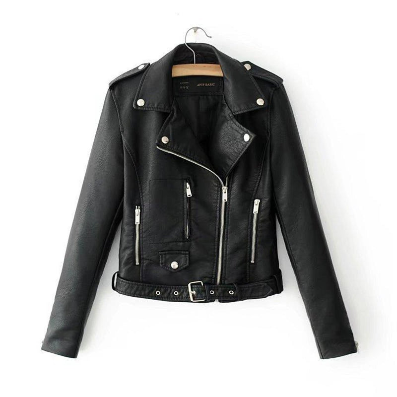 Autumn Women Ladies Lapel Motor Jacket Coat Zip Biker Short Punk Cropped Tops PU Leather Jacket Ladies Basic Street Coat NEW - The Black Ravens