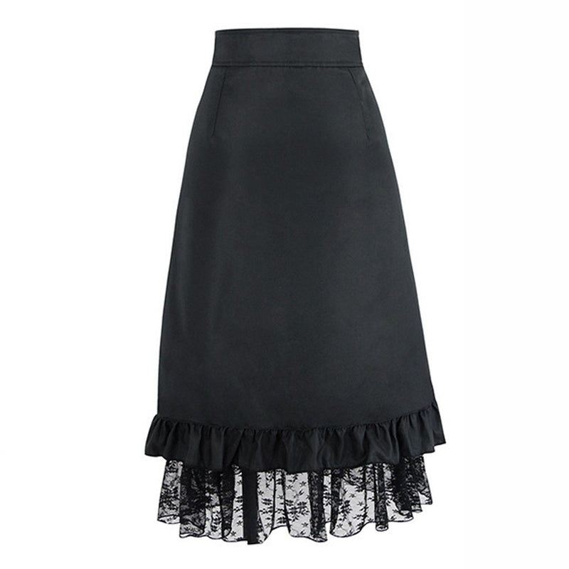 Women Steampunk Clothing Party Club Wear Punk Gothic Retro Black Lace Skirts Womens jupe femme long skirt faldas mujer moda 2019 - The Black Ravens
