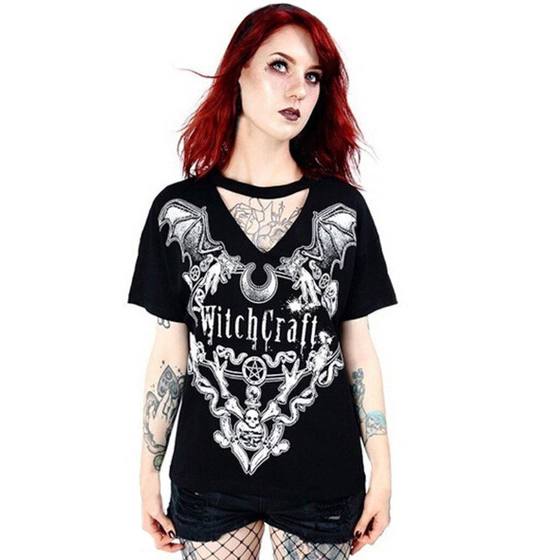 Summer T-Shirt Print Causal Women Short Sleeve V-Neck Punk Style Tee Tops Fashion T Shirt Plus Size Women Plus Size S-5XL#P30 - The Black Ravens