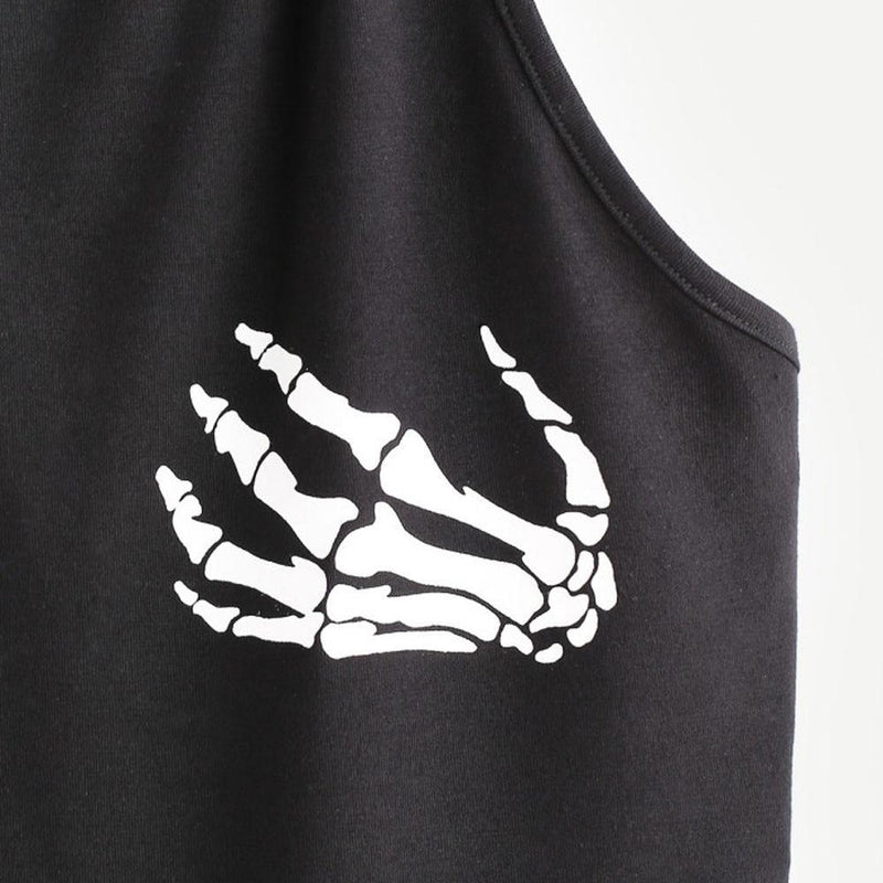 Fashion Sexy Crop Top Women Halter Neck Camisole Skull Hand Print Gothic Punk Sexy Tank Top Female Sleeveless Tops Ropa Mujer - The Black Ravens