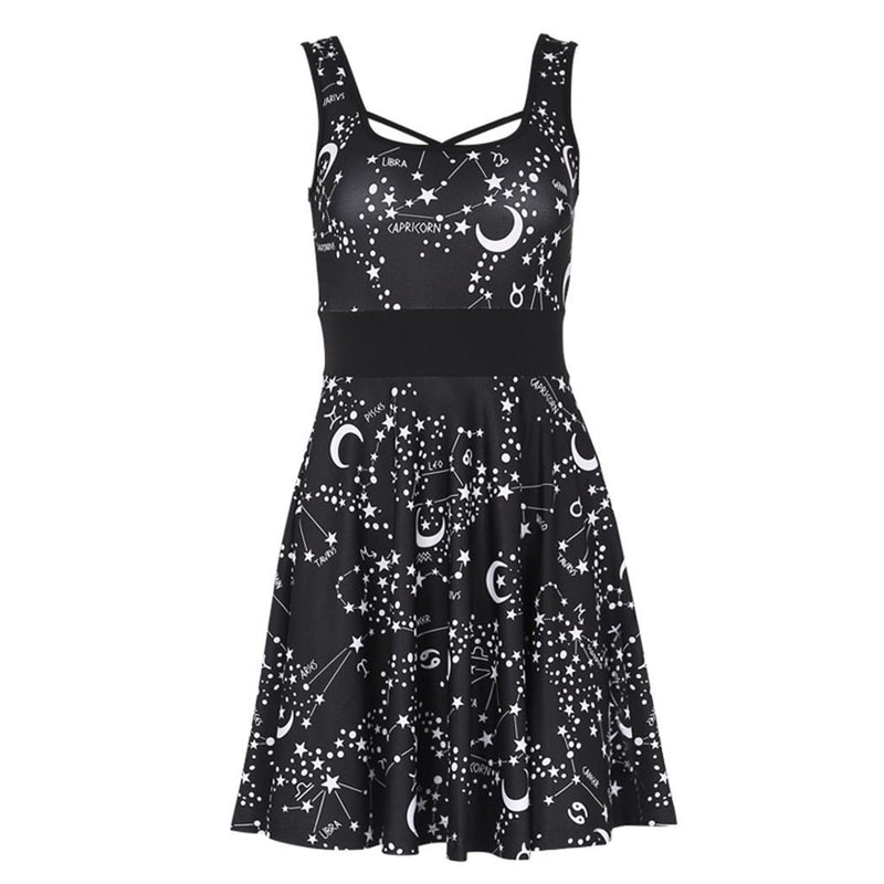 Sexy Women Street Gothic Style Punk Black Retro Dress 2019 Moon Vintage Sleeveless Elegant Sundress Dresses Woman Party Night - The Black Ravens