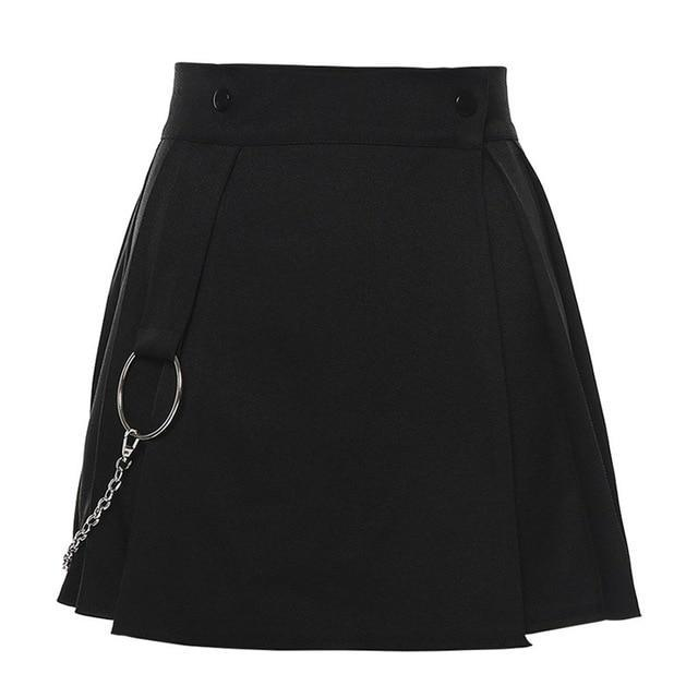 Summer Sexy Skirts For Women Streetwear Goth Dark Grunge Punk Gothic Pleated Skirt Black White Metal Ring High Waist Short Skirt - The Black Ravens