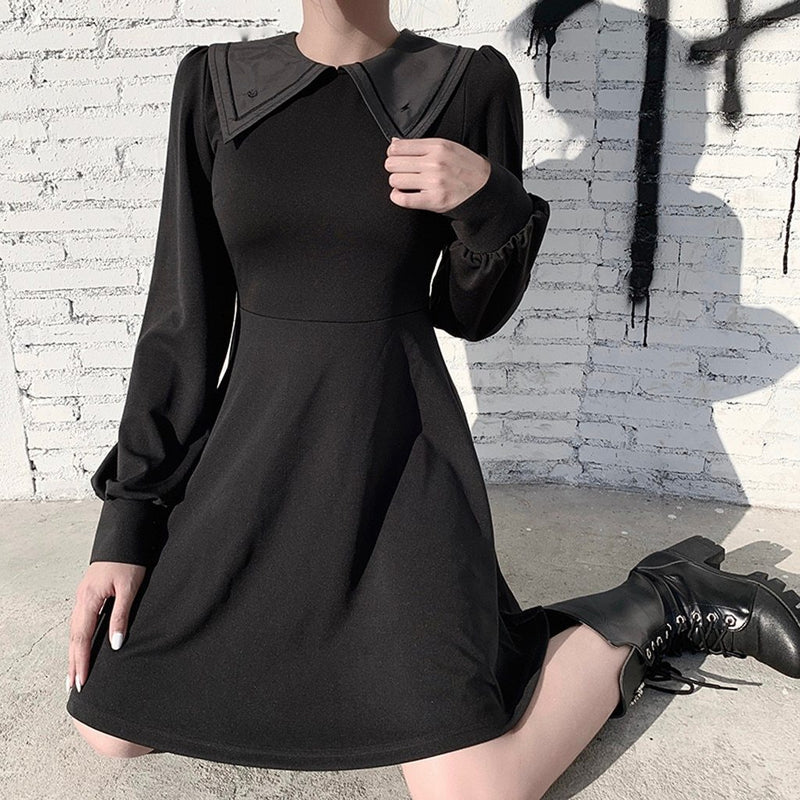 Pleated Black Gothic Dress Women Chain Strap Mini Black Punk O Neck Casual Summer Dresses Elegant Clothes 2020 New Rock - The Black Ravens