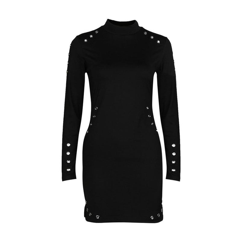 Black Bodycon Dress Women Turtleneck Sexy Mini Dresses Ladies Long Sleeve Package Hip Punk Slim Dresses Sukienki #T1G - The Black Ravens