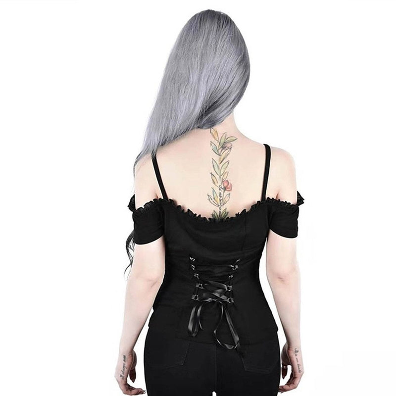 JAYCOSIN Black New Women Sexy Sleeveless Camisole Punk Hemming Back Straps Shoulder Sports Simple Sling Vest Summer Camis Top L - The Black Ravens