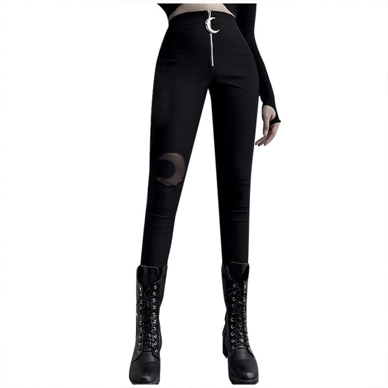 Gothic Style Crescent Necklace High Waist Pants Trousers Women Winter Autumn Punk Black Slim Pants Women Pantalon Femme#G30 - The Black Ravens
