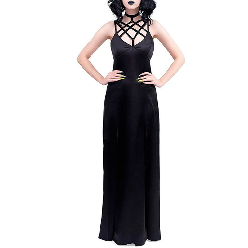 Sexy Bandage Dress Women Gothic Punk Halter Long Dress Ladies Slim Club Fashion Rock Dress Goth Tunic Streetwear Hot Sale#G7 - The Black Ravens