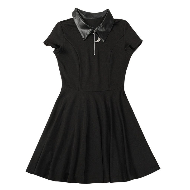 Gothic Mini Dress Women Black Street Punk Zipper Summer Dress Preppy Style Girl Stylish Goth Pleated Casual Shirt Dresses#J30 - The Black Ravens