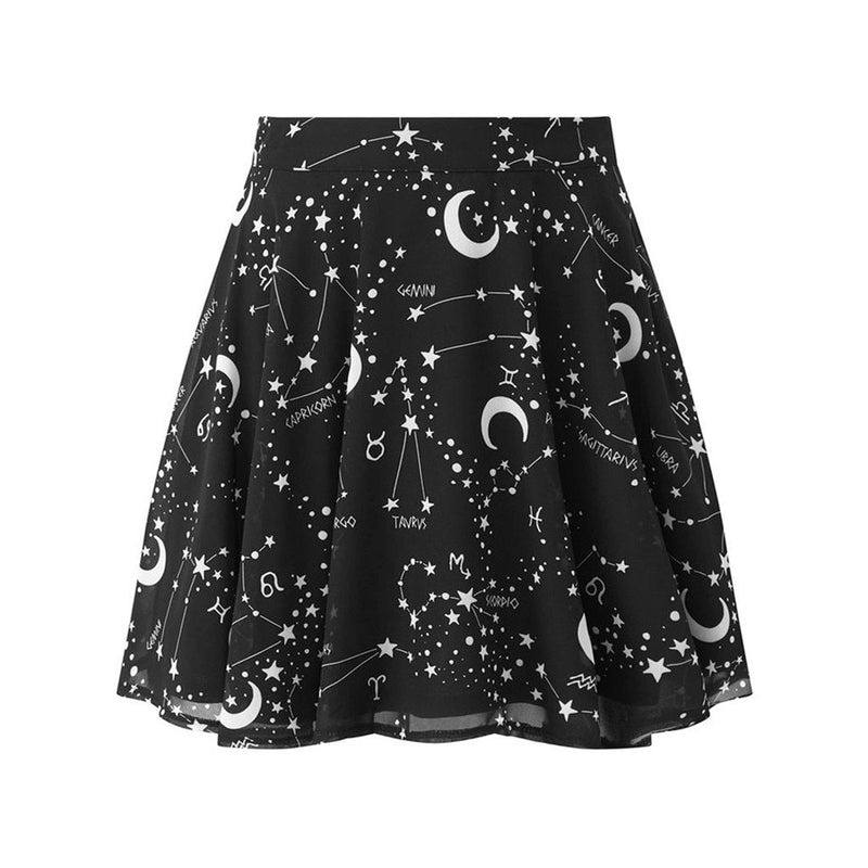 Gothic Punk Black Pleated Skirts Women Printed Skirts Womens  Starry Sky Moon Print A-Line Short Mini Skirt Mini Skirt May - The Black Ravens