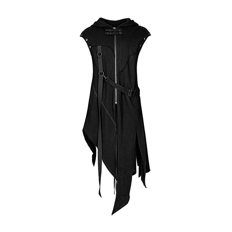 Feitong Men's Zipper Asymmetrical Hoodie Jacket Coat Retro Punk Style Party Outwear - The Black Ravens