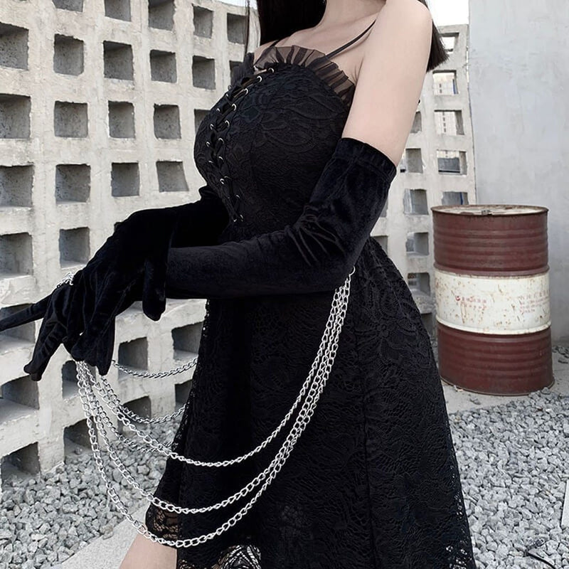 Women's dress Black Fashion Solid Sexy Lace Patchwork Bandage Sleeveless Strap Punk Gothic Dress for club Vestidos de mujer#G2 - The Black Ravens