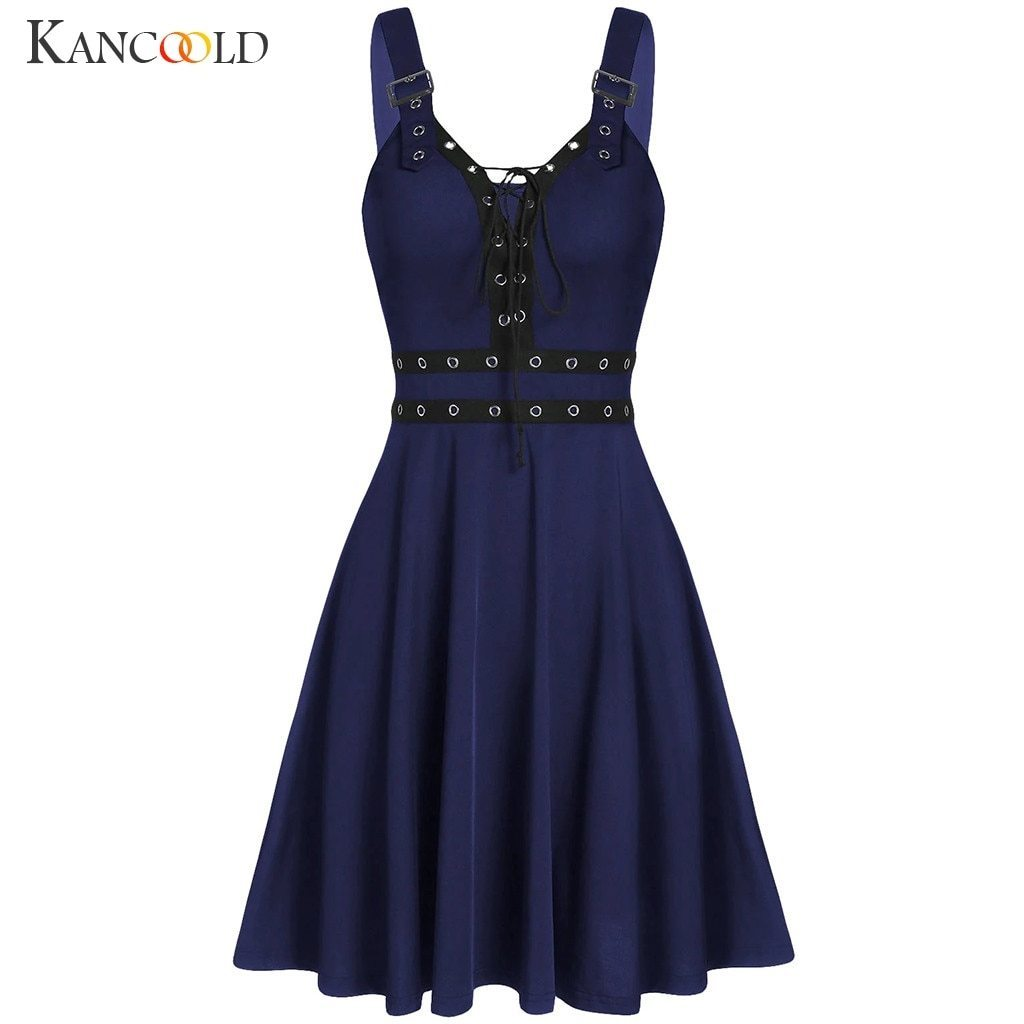 KANCOOLD Women's Gothic Punk Sleeveless Strap Sling Dress Elegant Strap Backless Sexy Party Strapless Strapless Dress - The Black Ravens