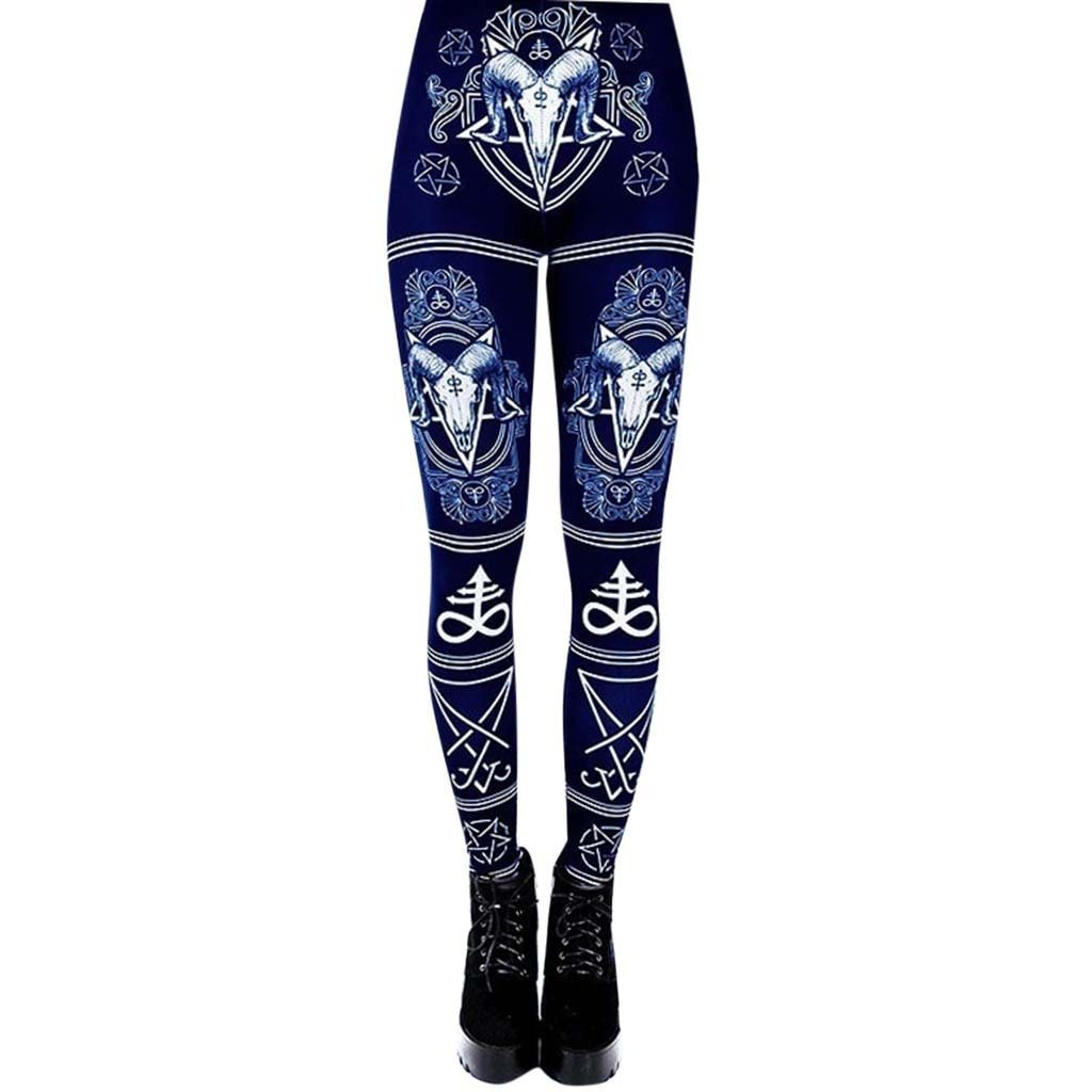 Retro Ladies Leggings Casual Fitness 2019 Fashion Casual Print High Waist Trousers Leggings Gothic Leggings Winter Leggings#JY - The Black Ravens