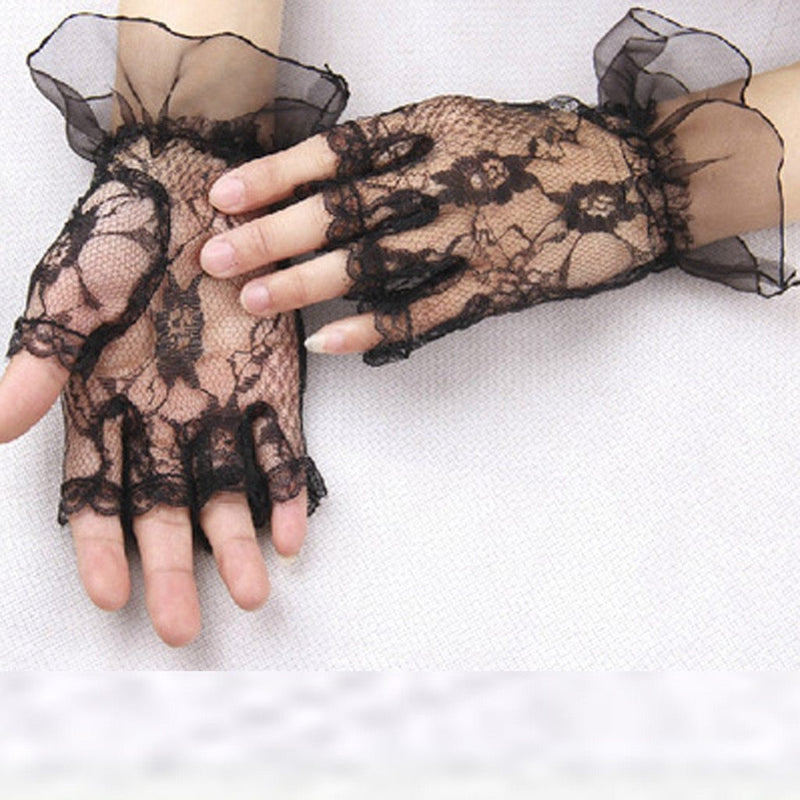 Punk Goth Lady Disco Dance Costume Lace Fingerless Mesh Fishnet Gloves fashion summer Candy colors Gloves without fingers 2019 - The Black Ravens