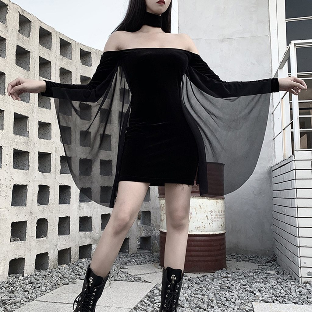 Gothic Chic Elegant Harajuku Black Women Mini Dresses Sexy Club Punk Off Shoulder Long Sleeve Female Goth Zipper Dress#G30 - The Black Ravens