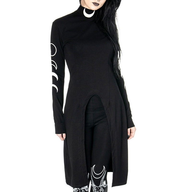Women Gothic dress black Punk Moon Print Long Sleeve Irregular Hem Dress girls aesthetic streetwear cool Witch magic dress#G8 - The Black Ravens