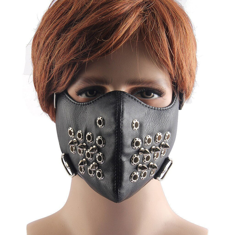 SAGACE Mask Women Solid Punk Rock Black Unisex Motorcycle Punk Hallowin Mask Cosplay Style Metal Rivet Gift Party Leather Mask - The Black Ravens