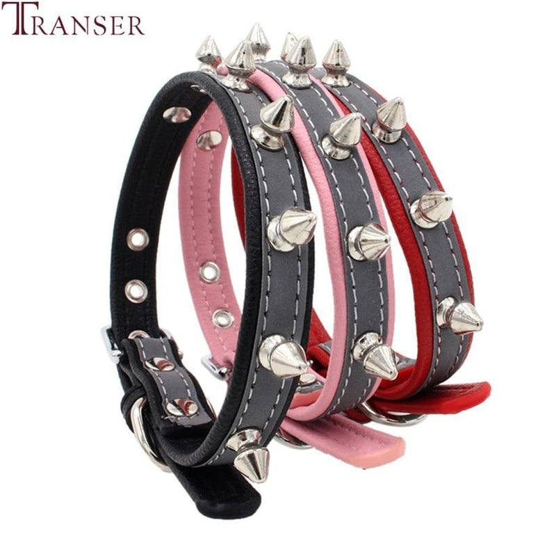 Transer Reflective Rivet Dog Collars Punk Style Pitbull Bull Terrier Small Dog Collar Pet Supply for Outdoor Night Walking 90109 - The Black Ravens