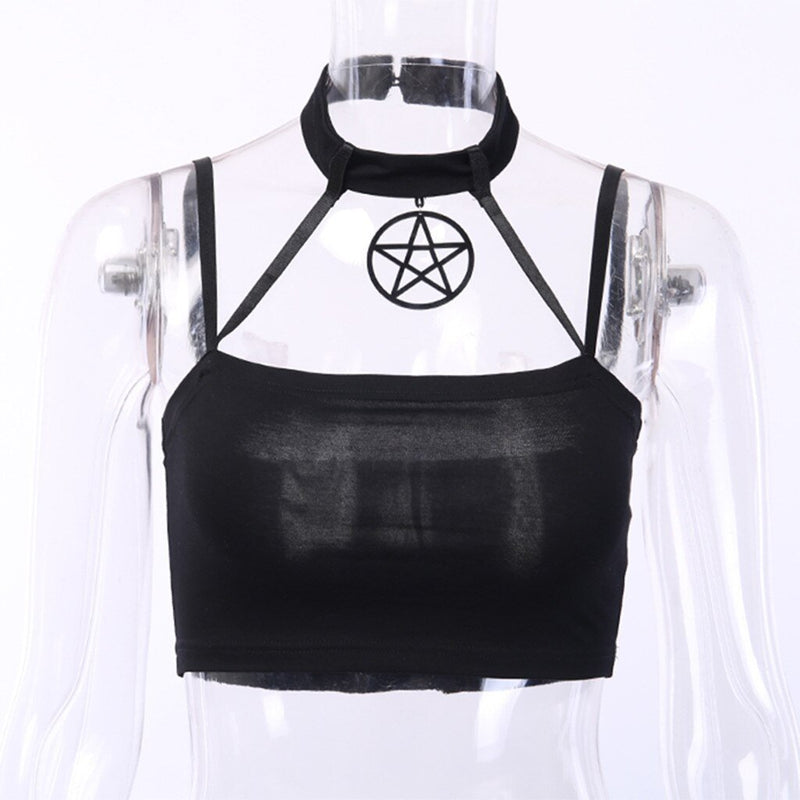 Harajuku Women Summer Crops Tops Sexy Gothic Punk Star Pendant Sleeveless Camisole Shirt Crop Top Ladies Black Cotton haut femme - The Black Ravens
