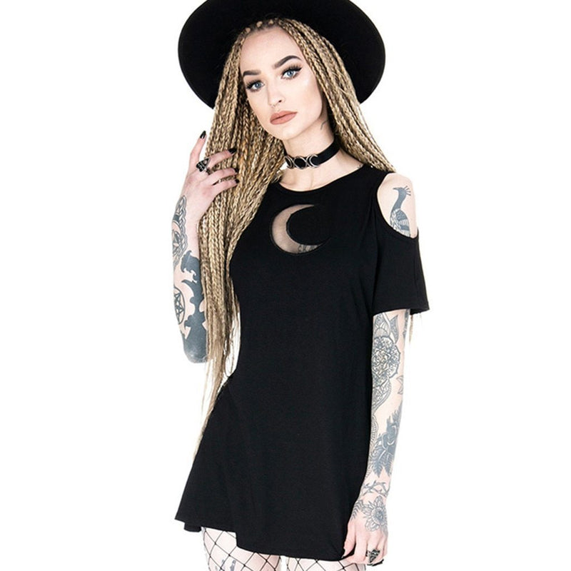 Feitong Women's Fashion Gothic Style Punk Black Mini Dress Ladies Retro Cold Shoulder Moon Hollow Out Dress Vestidos Verano 2020 - The Black Ravens