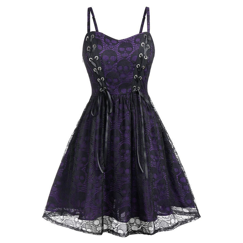 Fall Halloween Lace Mesh Women Dress Sleeveless Dark Gothic Punk Style Strap Patchwork Backless Mini Dress Goth A-line Dress#G8 - The Black Ravens