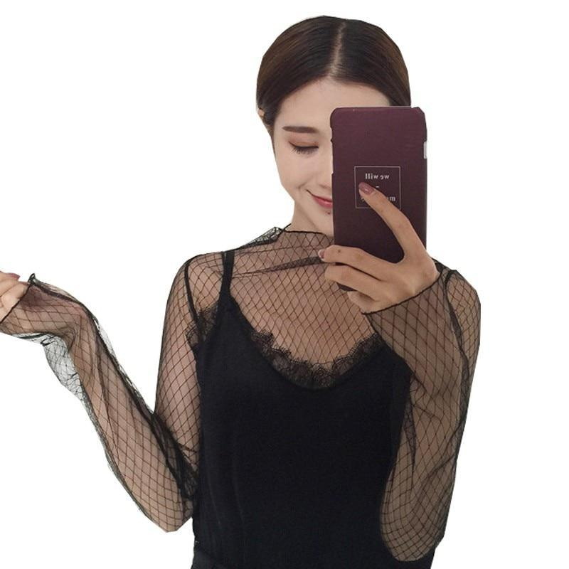 Trends Mesh Women Long Sleeve Tops Hot Sexy Transparent High Neck Black Lace Bottoming Shirts Punk Chic T Shirt Women - The Black Ravens