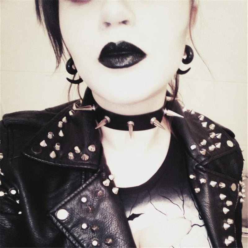 Gothic Punk Spike Collar - The Black Ravens