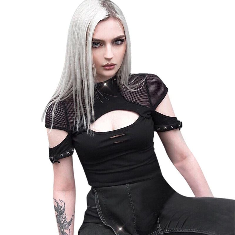 Women Tshirt Summer Gothic Punk Style Short Sleeve Perspective Lace Hollow Rivet Streetwear T-shirt Women Clothes Camiseta Mujer - The Black Ravens