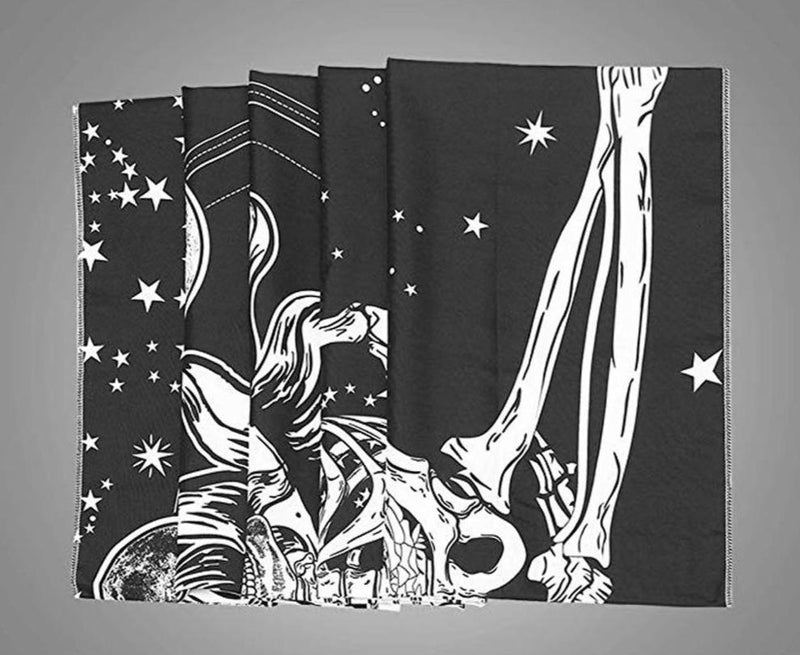 Halloween tapestry Psychedelic Tapestry Wall Hanging Skull Cloak Halloween Black Tarot Tapestry Mandala Moon Sun Ouija Home #5 - The Black Ravens