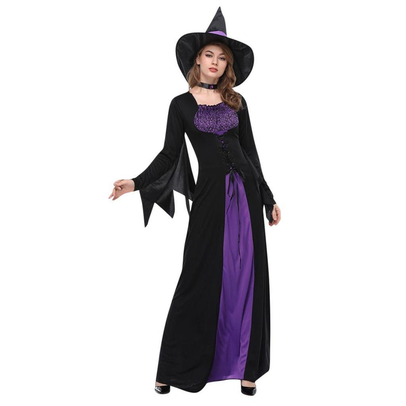 Ladies Halloween Cosplay Costume Vintage Witch Long Sleeve Maxi Dress hot Women's Horror Ghost Bride Zombie Bloody Vampire Dress - The Black Ravens