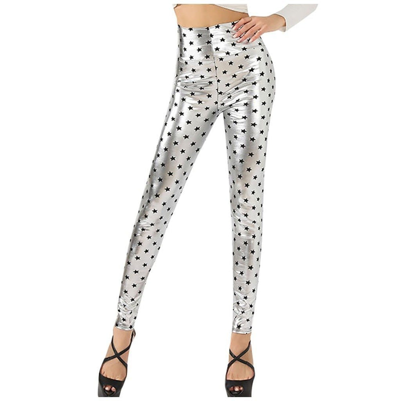 Fashion Women Shiny Faux Leather High Waist Dot Printed Tight Pants Trouser Skinny Elastic Stretch Pentagram Pencil Pants#g3 - The Black Ravens