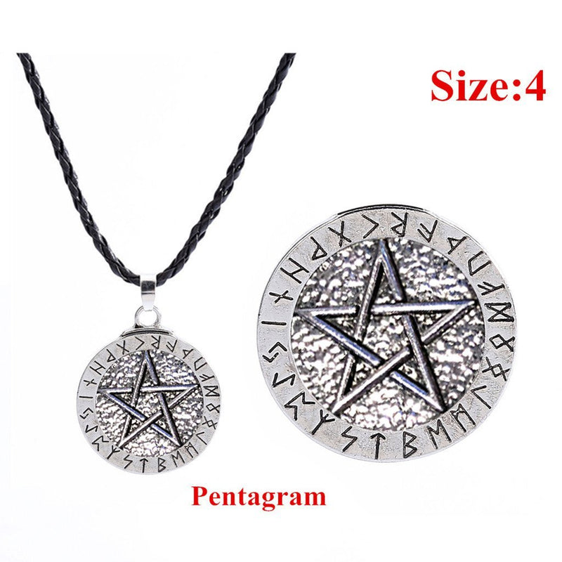 Exquisite Pendant Necklaces Large Rune Nordic Choker Viking Pentagram Pendant Jewelry Necklace Pentagram Wiccan Pagan Norse 0203 - The Black Ravens