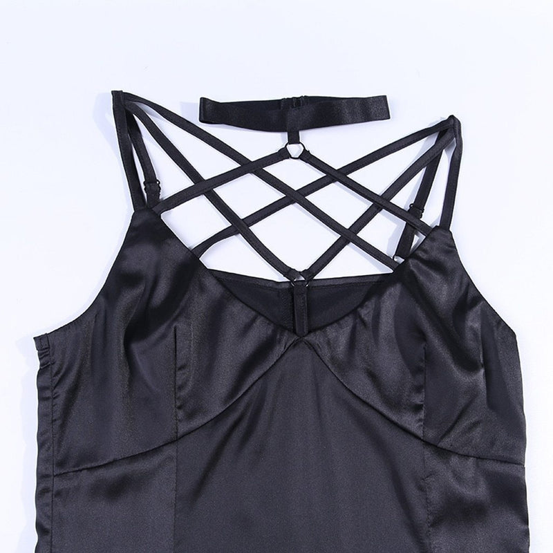 Gothic Black Maxi Dress Halter Sexy Cross Straps Pentagram Hollow Out Slim Party Dress Women Vintage Split Women Long Dress#J30 - The Black Ravens