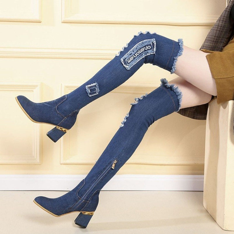 Gothic Shoes Women Punk Boots Thigh High Boots Fashion Women Denim Zipper Round Toe High Boots Over-the-knee High Heel Shoes#g4 - The Black Ravens