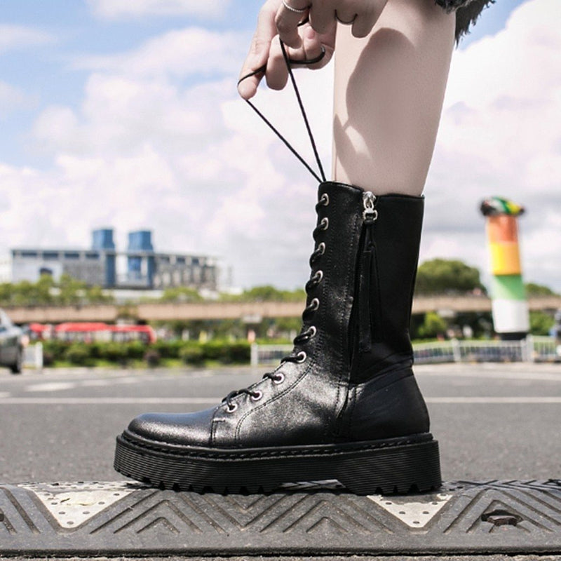 gothic shoes boots punk women boots Women's Ladies Fashion Girls Solid Zipper Thick Lace-up Short Boots Bootie Shoes#g4 - The Black Ravens