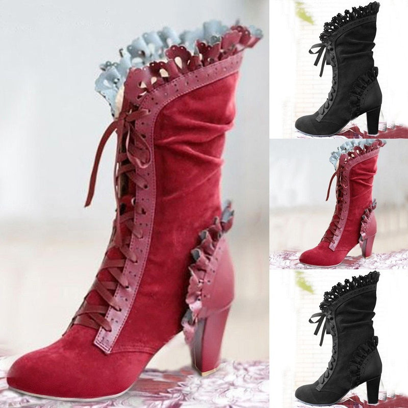 Steampunk Women Sexy Lace Up Heel Knee High Leather Suede Boots Vintage Gothic Lace High Heel Boots Cosplay Autumn Boots Shoes - The Black Ravens