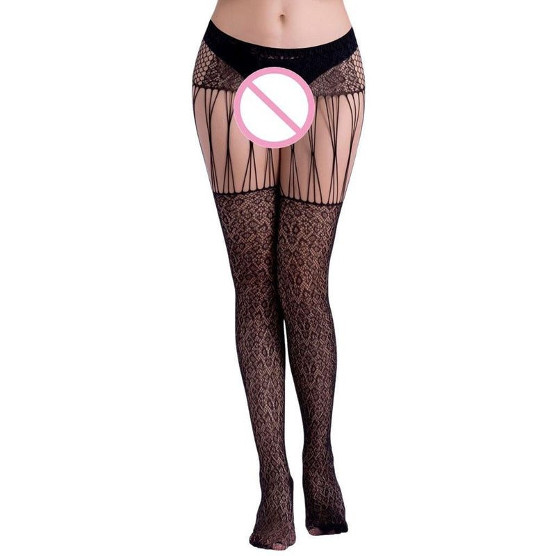 Hot Women Sexy Lingerie Stockings Suspender Belt Fishnet Pantyhose Transparent Pantyhose Lingerie Garter Fishnet Open Tights - The Black Ravens