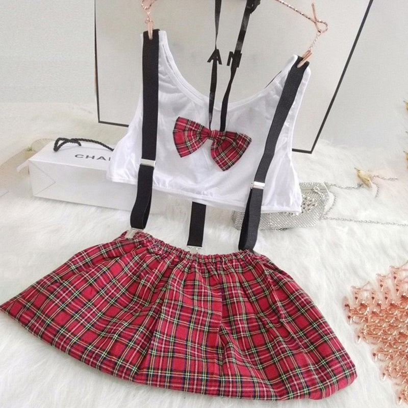 JAYCOSIN Delicate New Sexy Women Student Christmas Costume Uniform Skirt Red Plaid Garter Lingerie Honeymoon lingerie party - The Black Ravens