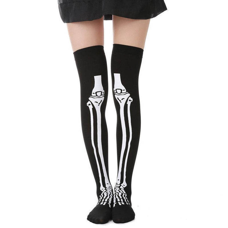 1Pairs Skeleton Bone Foot Halloween Over The Knee Costume High Stockings - The Black Ravens