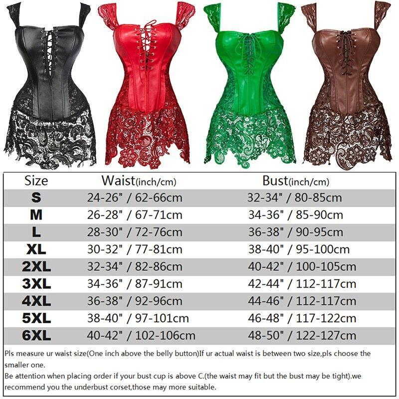 Women's Gothic Steampunk Clothing Corset Bustier Top Sexy Lingerie Leather Lace up Overbust Burlesque Basque Corset Dress S-6XL - The Black Ravens