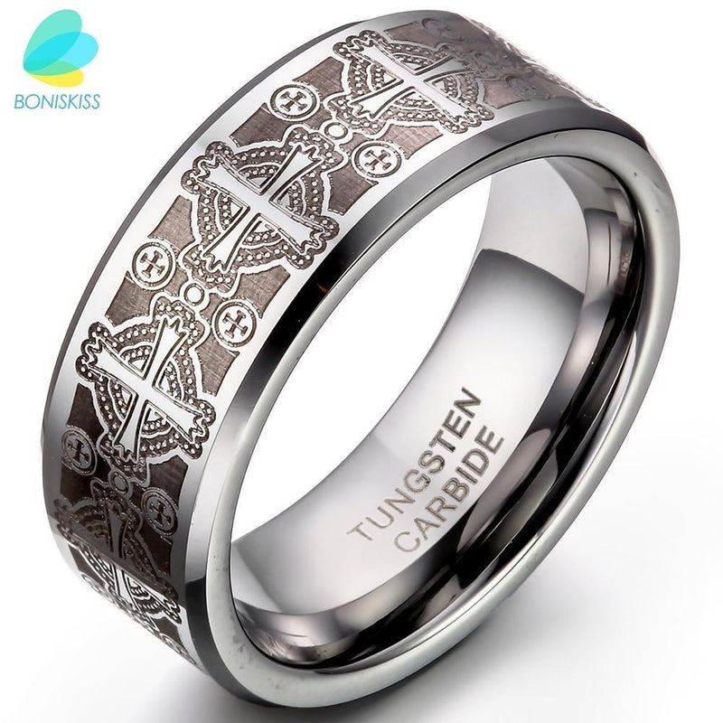 BONISKISS 8mm Vintage Gothic Laser Etched Cross Tungsten Engagement Rings For Men High Quality Mens Jewellery anillos hombre - The Black Ravens
