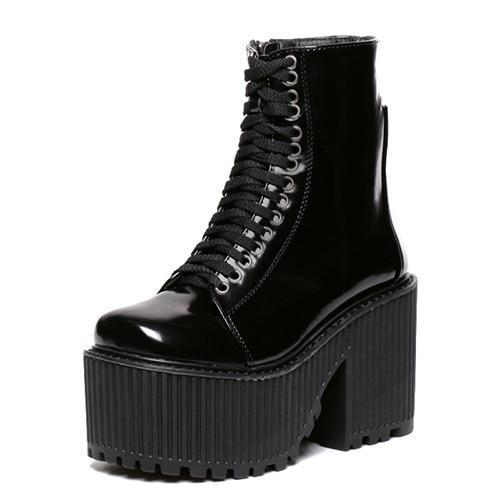 Lolita Girls Gothic Leather Wedge Shoes