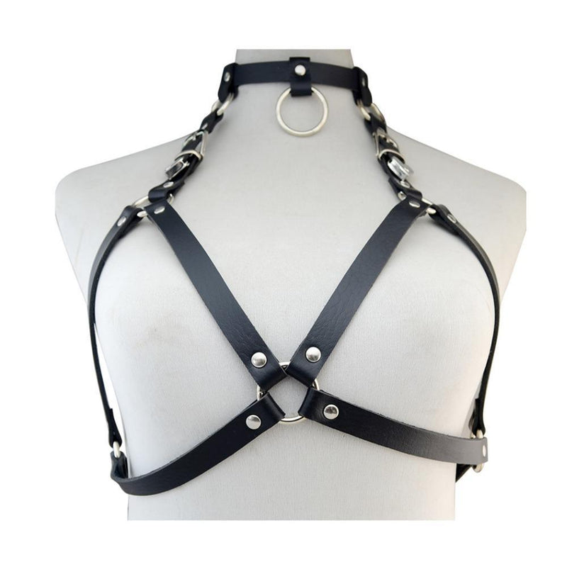 Black Brown Sexy Ladies Women Bra Belts Punk Rock Gothic Leather Harness Bondage Cage Bustier Chest Waist Belt Body Jewelry - The Black Ravens
