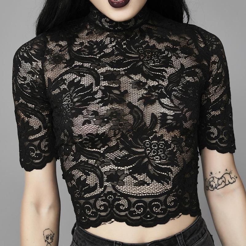 Hot Gothic Lace Crop Top