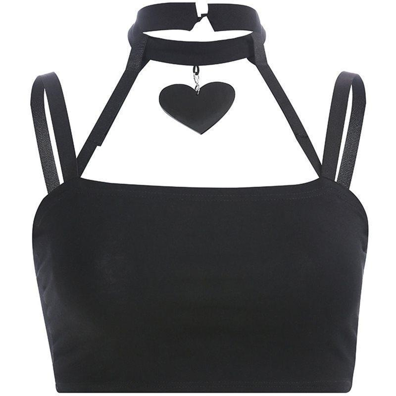 Halter Tank Top With Heart Shaped/Pentagram Choker