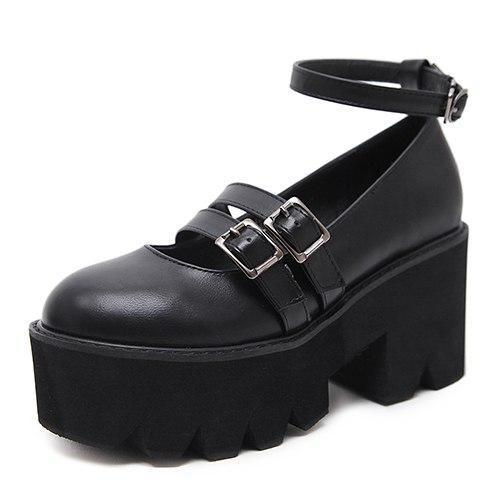 Black Chunky Gothic Sandals - The Black Ravens