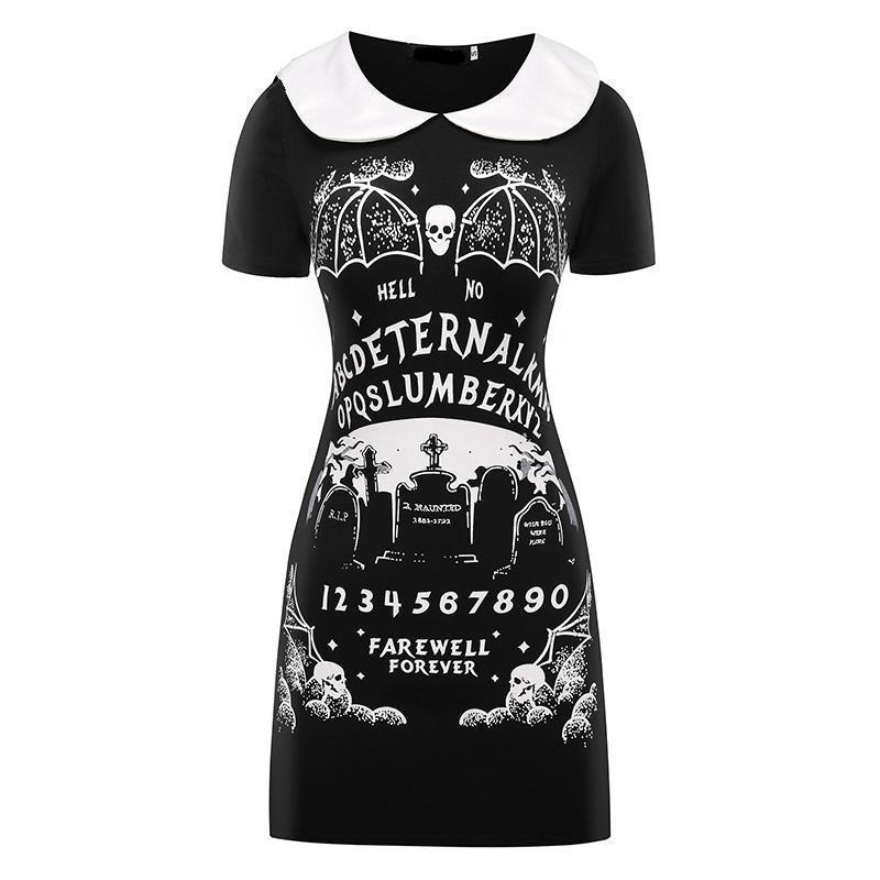 Punk Black Cute Dress Of Death-Black-S-